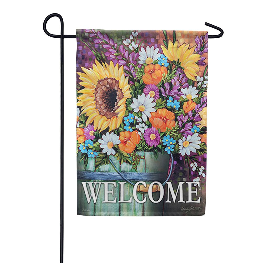 Wildflower Bucket Double Sided Garden Flag