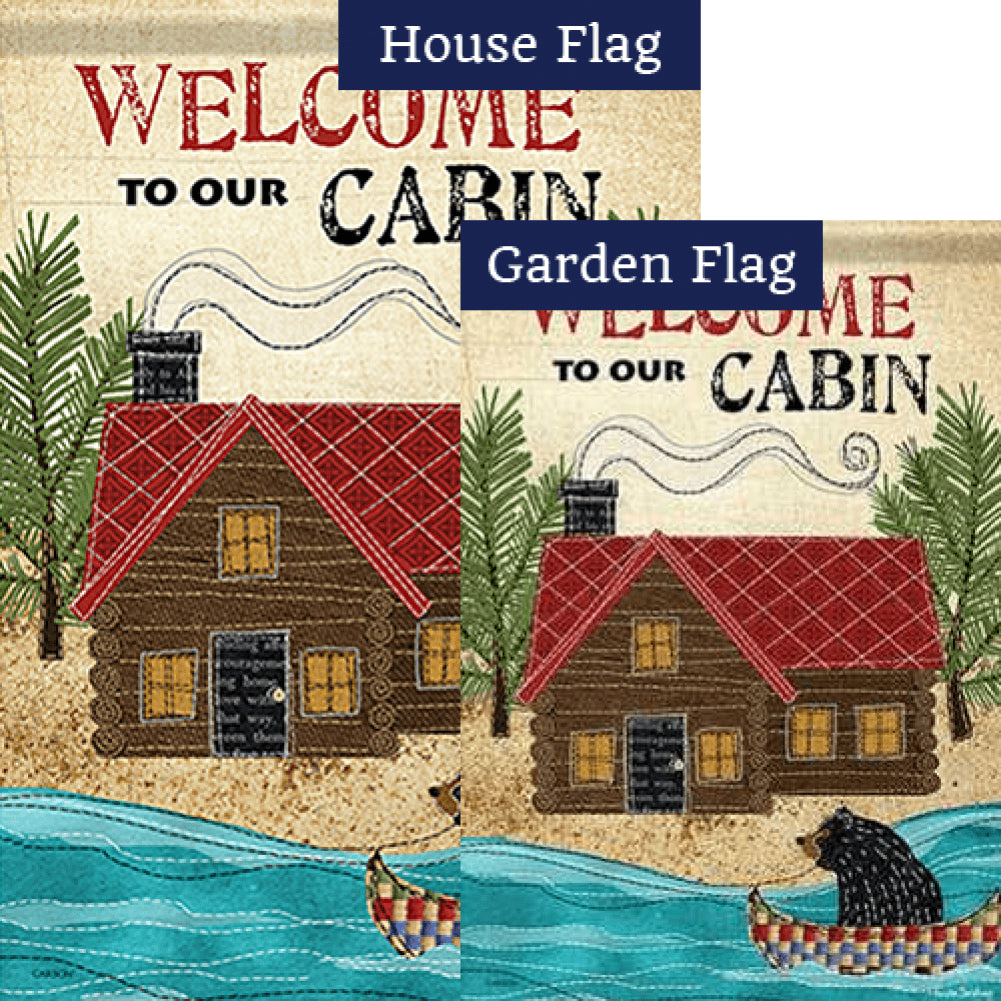 Our Cabin Double Sided Flags Set (2 Pieces)