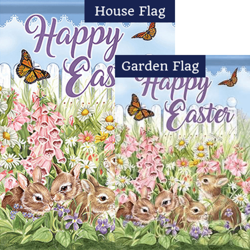 Flower Bunnies Double Sided Flags Set (2 Pieces)