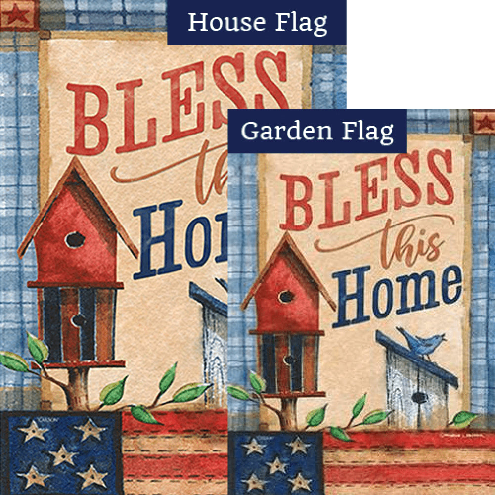 Patriotic Patchwork Double Sided Flags Set (2 Pieces)