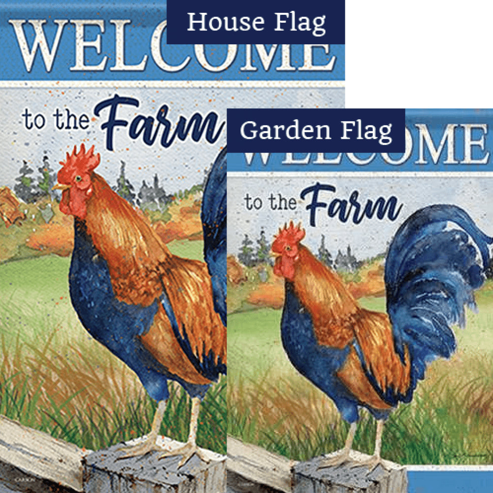 Rooster On Fence Double Sided Flags Set (2 Pieces)