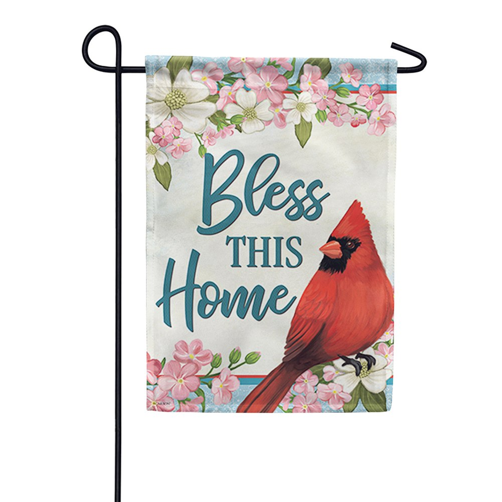 Cardinal & Blossoms Blessing Double Sided Garden Flag