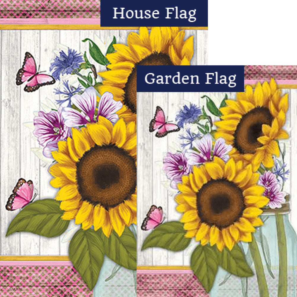 Sunflowers & Butterflies Double Sided Flags Set (2 Pieces)