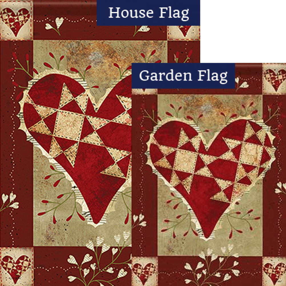 Primitive Love Double Sided Flags Set (2 Pieces)