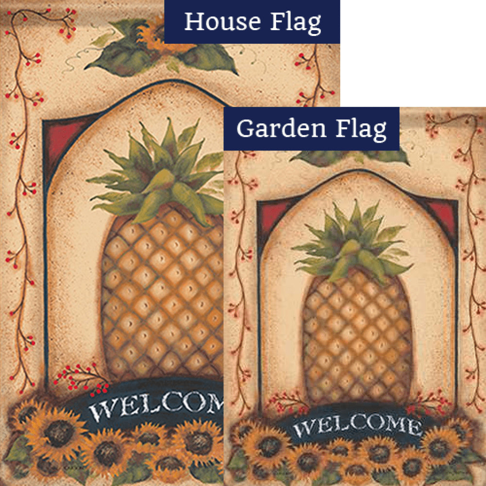 Vintage Pineapple Double Sided Flags Set (2 Pieces)
