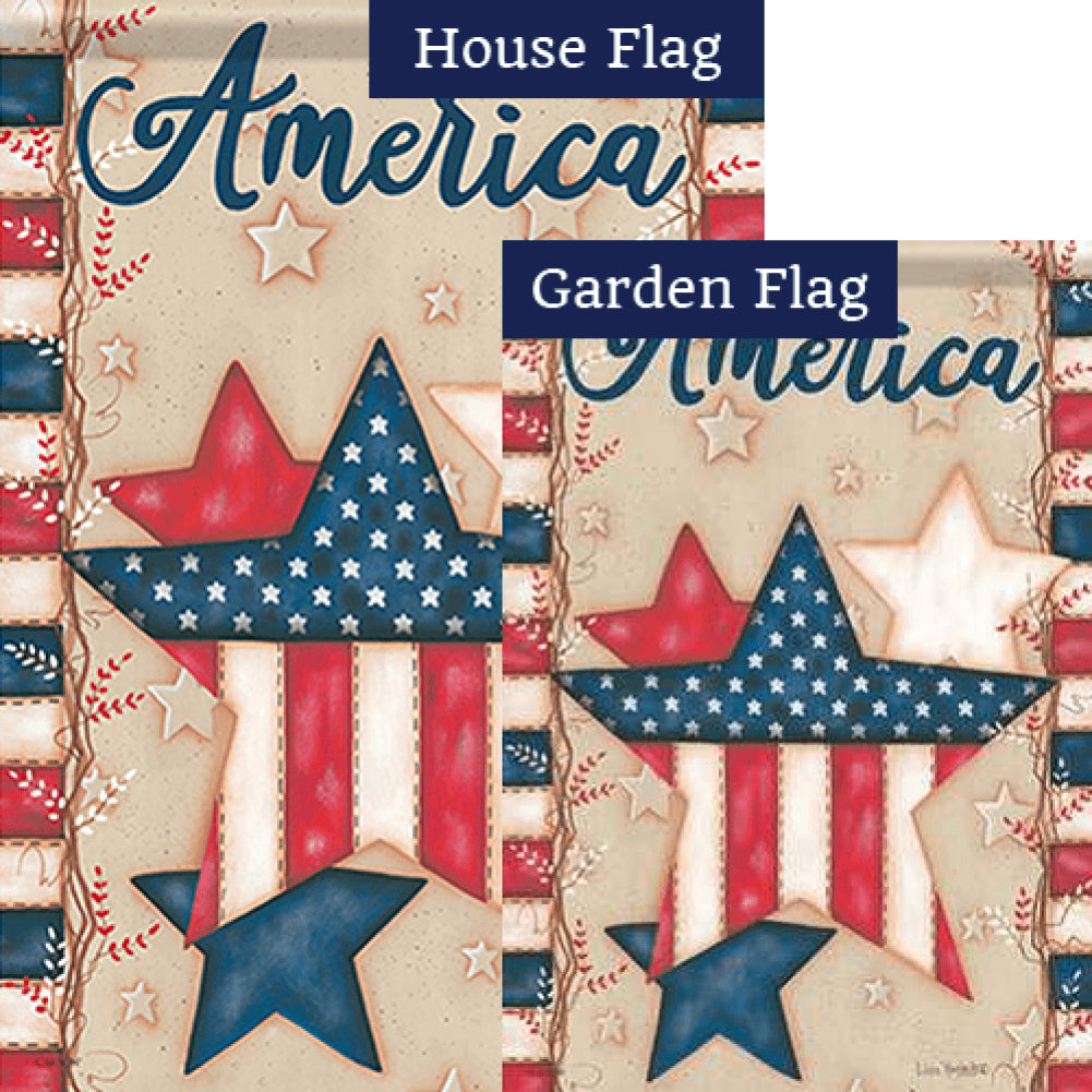 American Stars Double Sided Flags Set (2 Pieces)