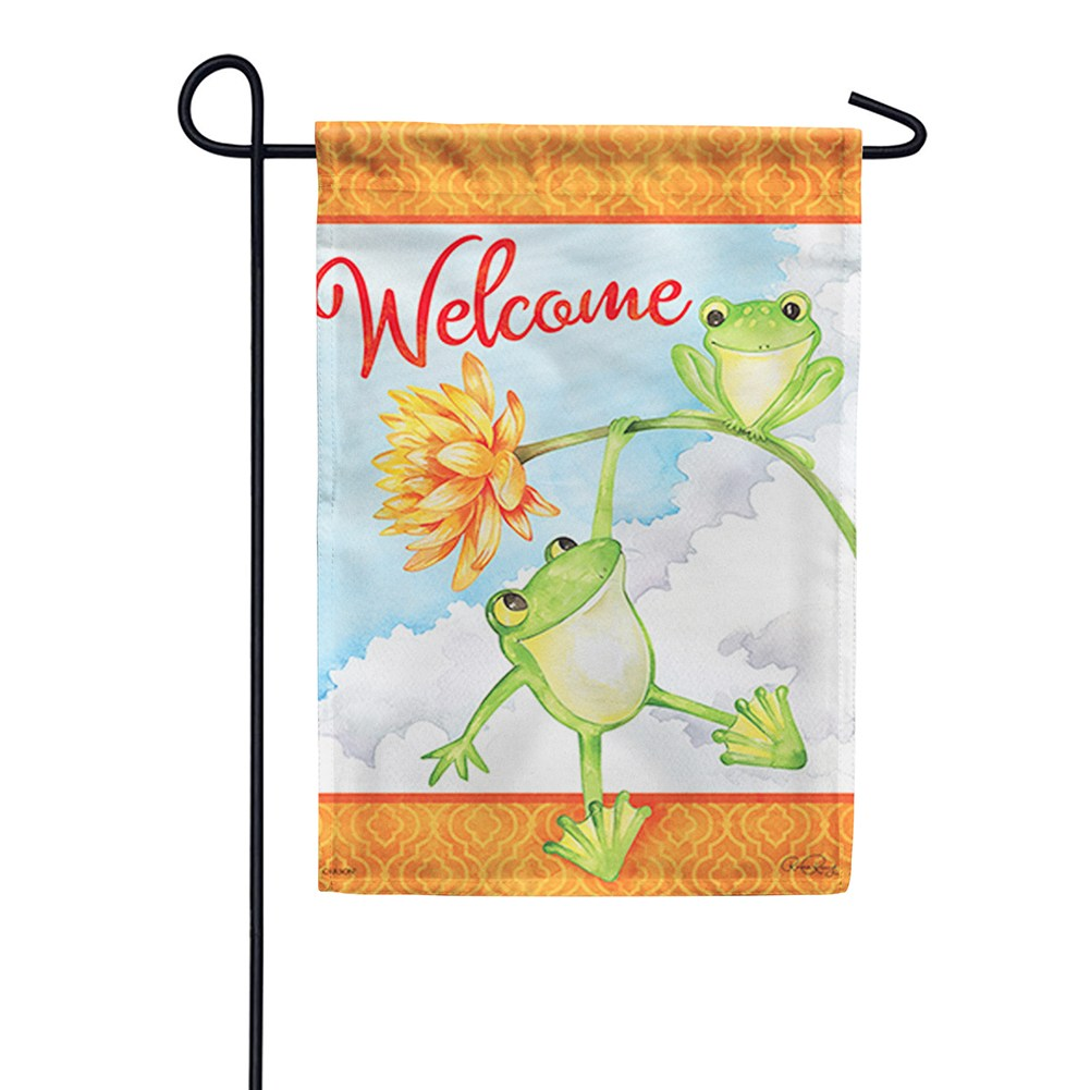 Frog Fun Double Sided Garden Flag