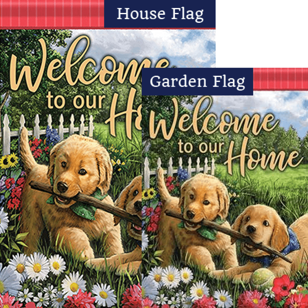 Playful Pups Double Sided Flags Set (2 Pieces)