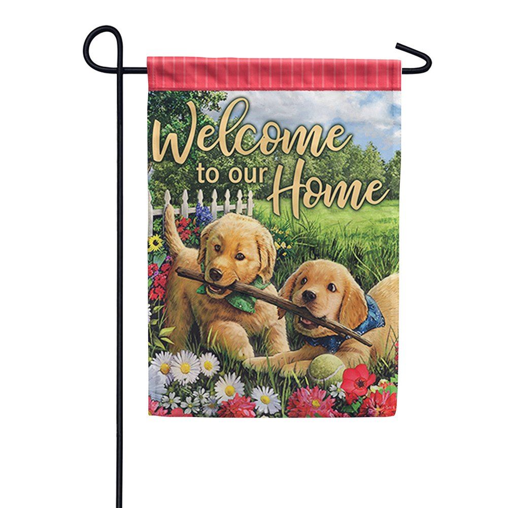 Playful Pups Double Sided Garden Flag