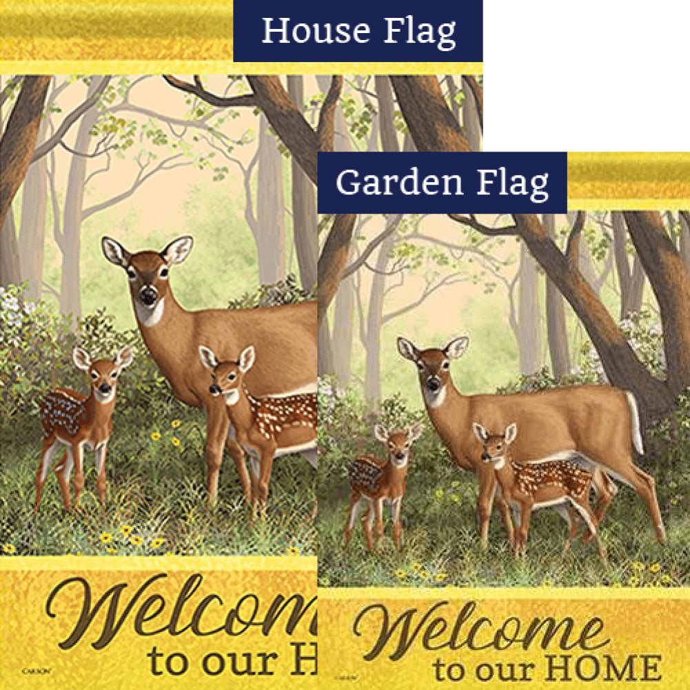 Deer Family Double Sided Flags Set (2 Pieces)