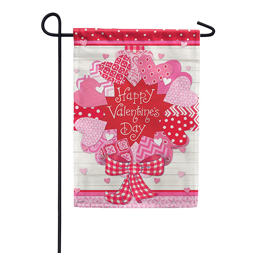 Valentine Wreath Double Sided Garden Flag