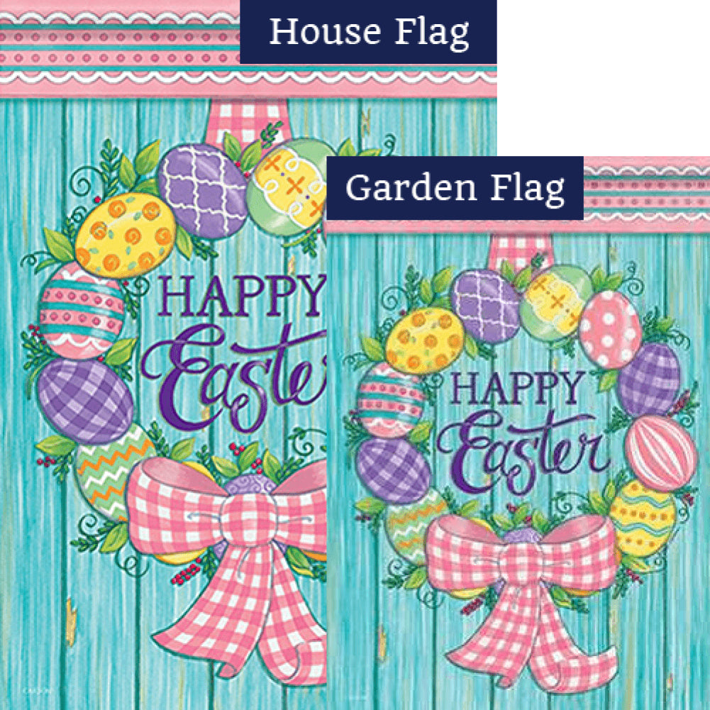 Easter Egg Wreath Happy Easter Double Sided Flags Set (2 Pieces)