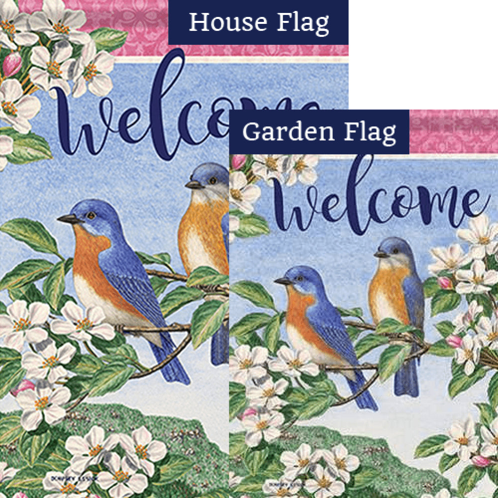 Bluebird Pair Double Sided Flags Set (2 Pieces)