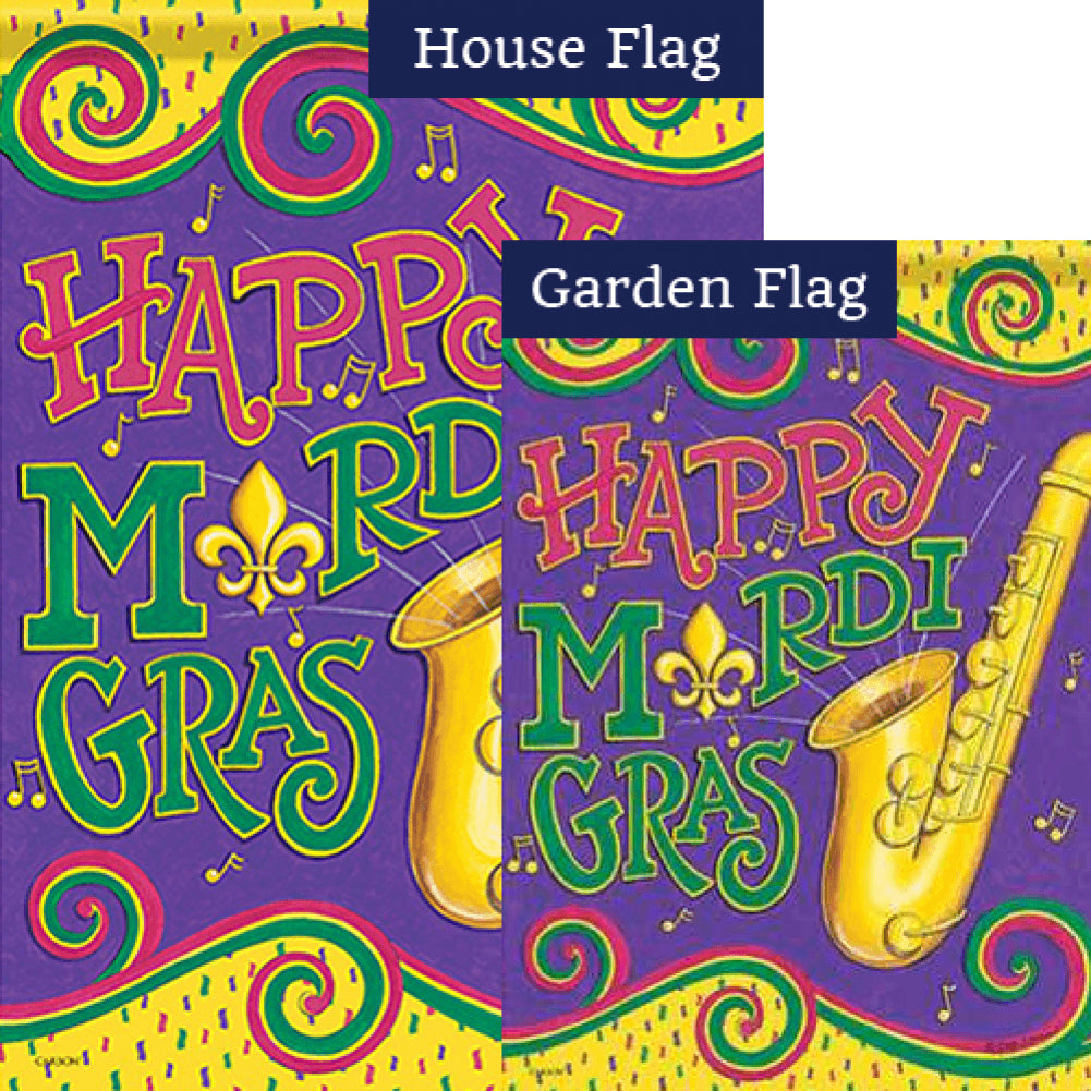 Mardi Gras Sounds Double Sided Flags Set (2 Pieces)