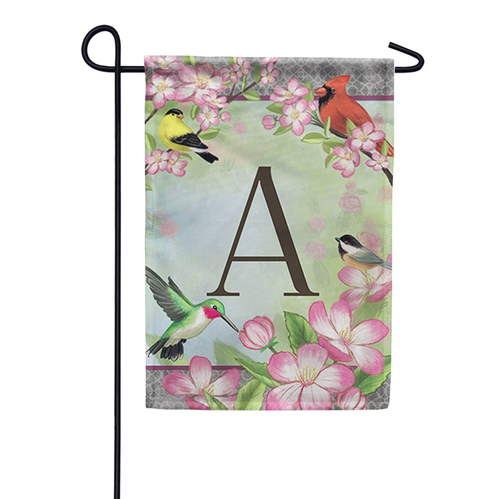 Songbird Monogram Garden Flag