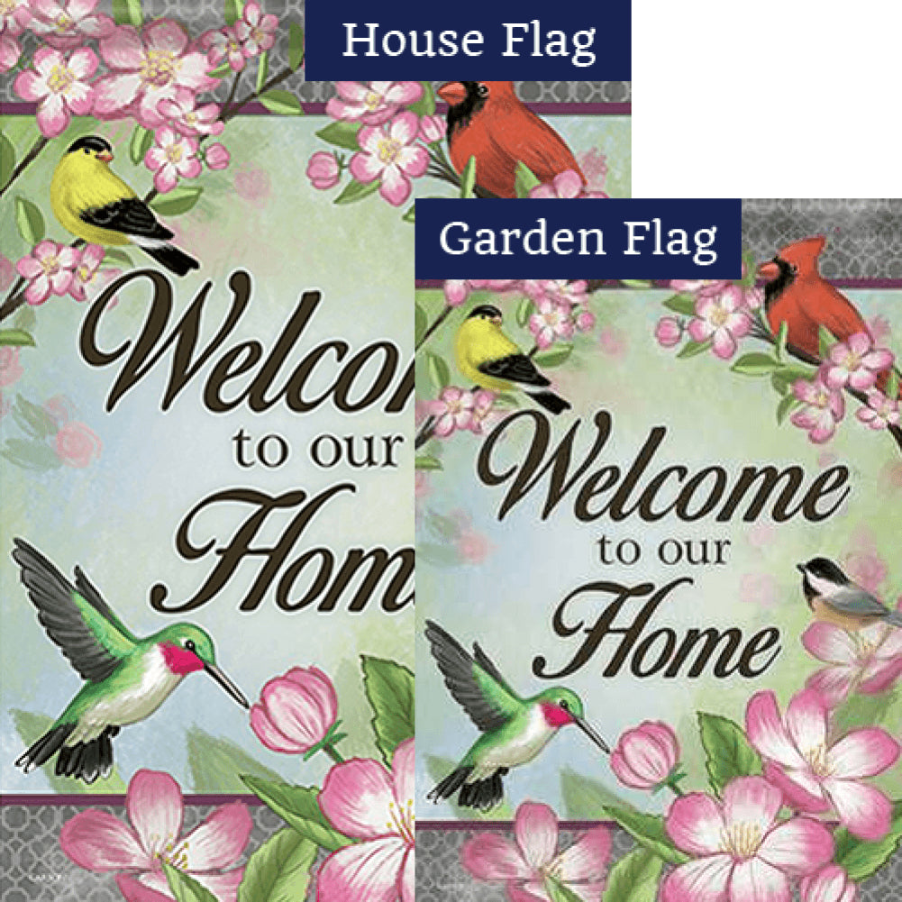 Floral Songbird Double Sided Flags Set (2 Pieces)