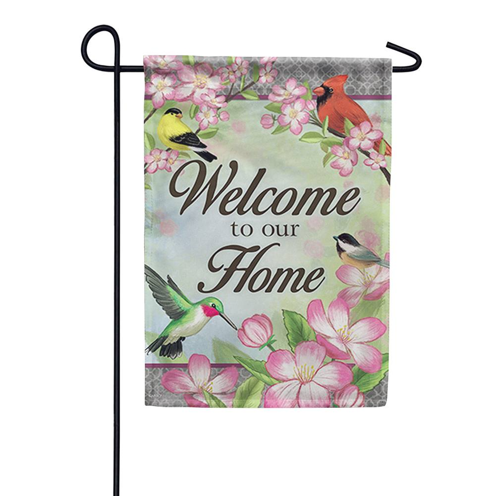 Floral Songbird Double Sided Garden Flag