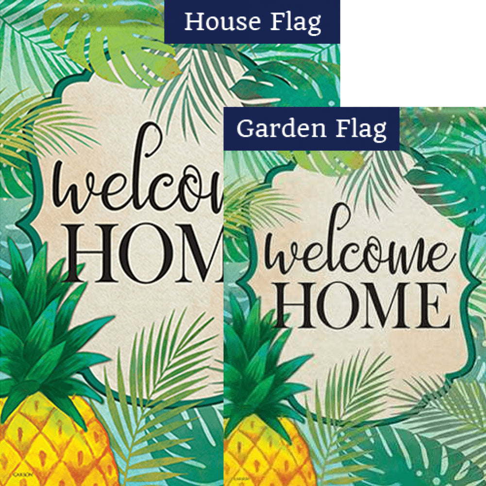 Palms & Pineapple Double Sided Flags Set (2 Pieces)
