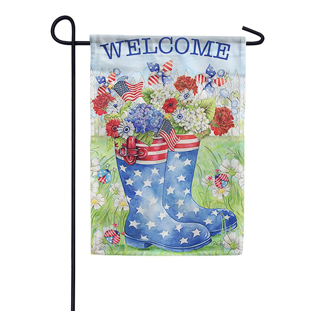 Patriotic Rain Boots Double Sided Garden Flag