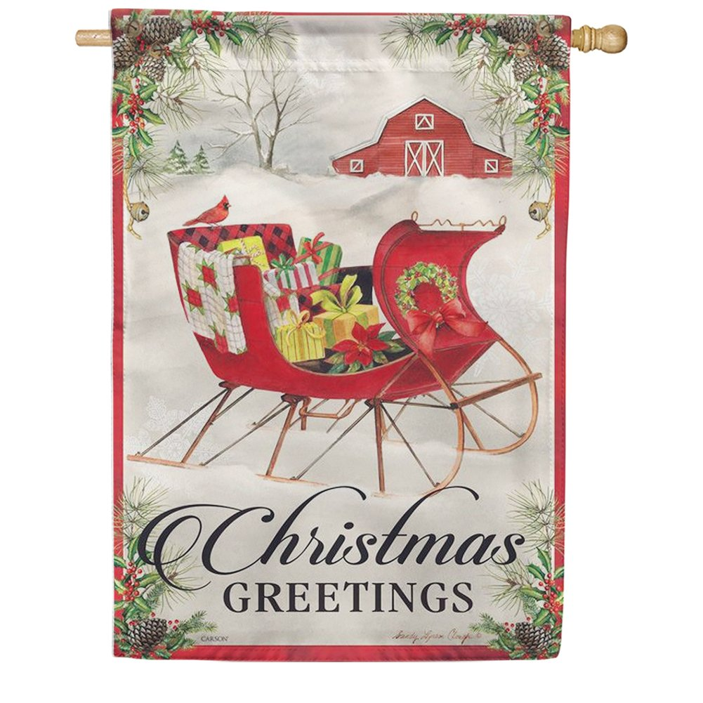 Holiday Sled Double Sided House Flag