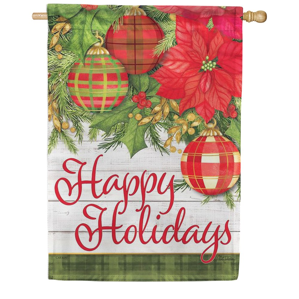 Plaid/Poinsettias Double Sided House Flag
