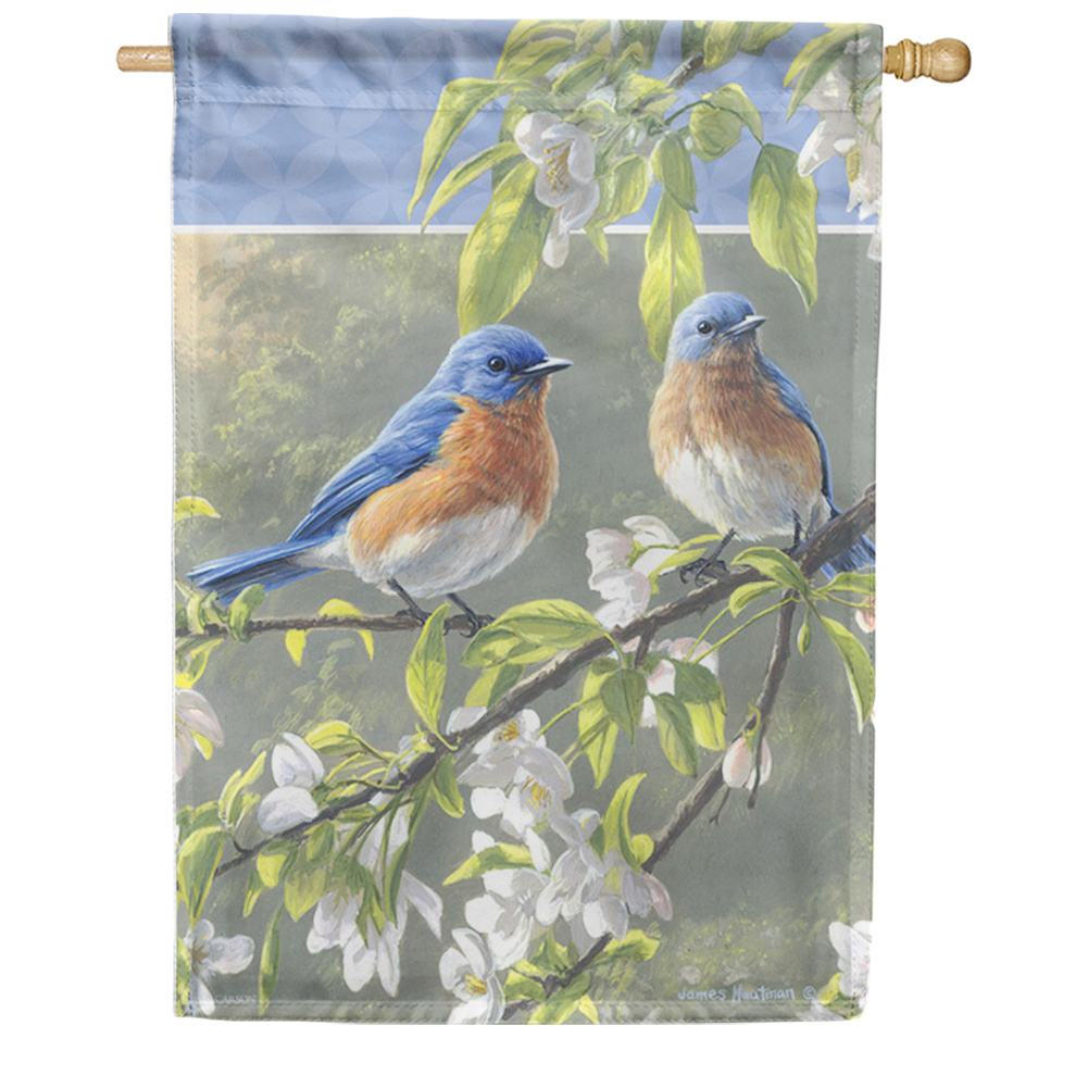 Misty Morning Bluebirds Double Sided House Flag