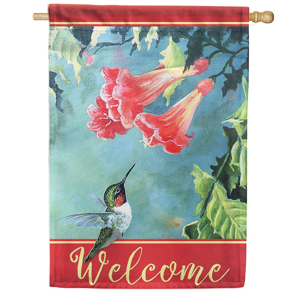 Hummingbird and Trumpet Vine Welcome Double Sided House Flag