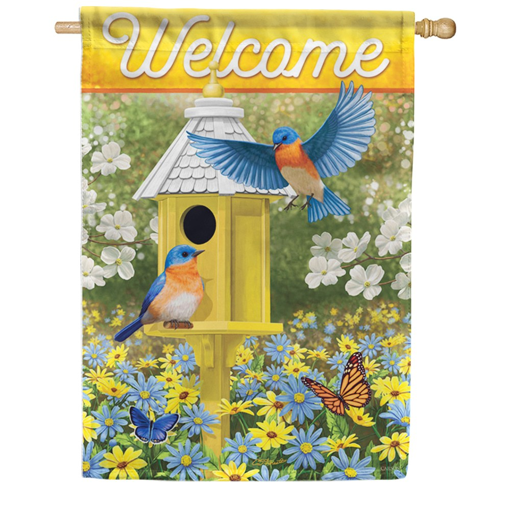 Delightful Bluebirds Double Sided House Flag