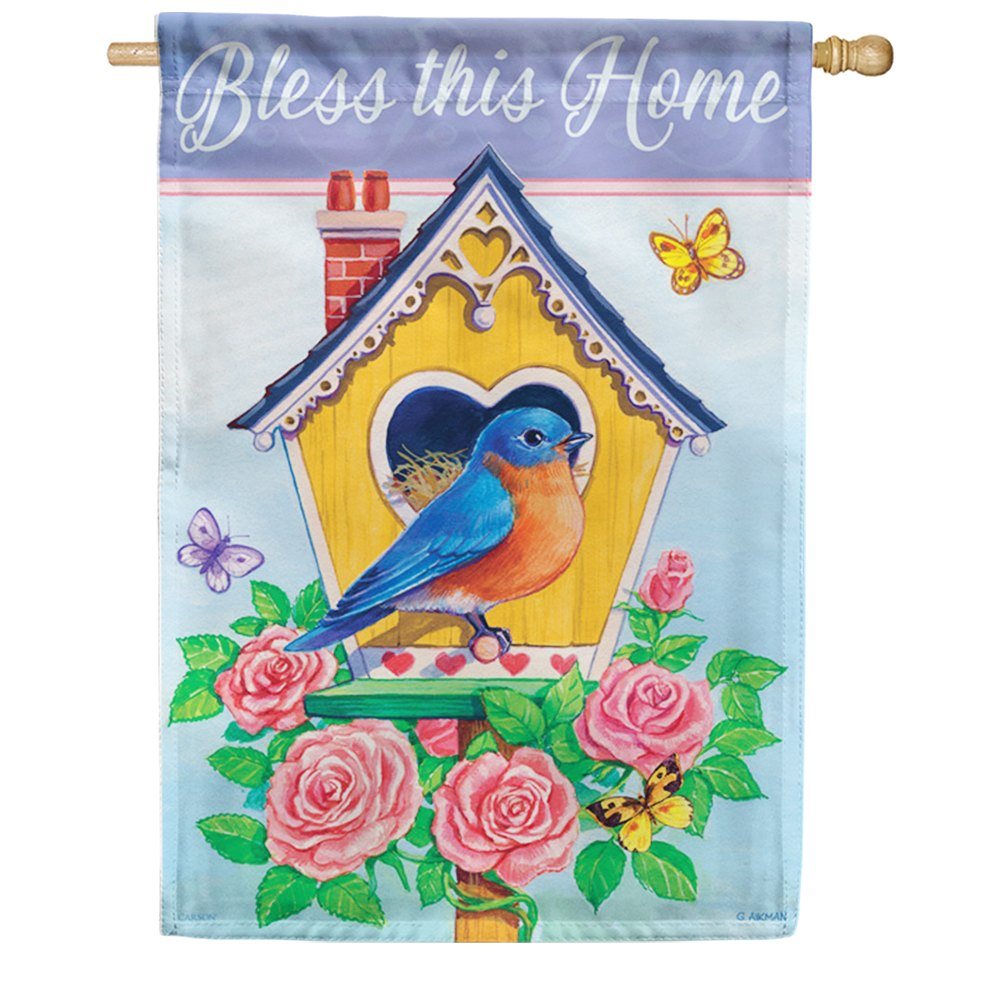 Rose Birdhouse Double Sided House Flag