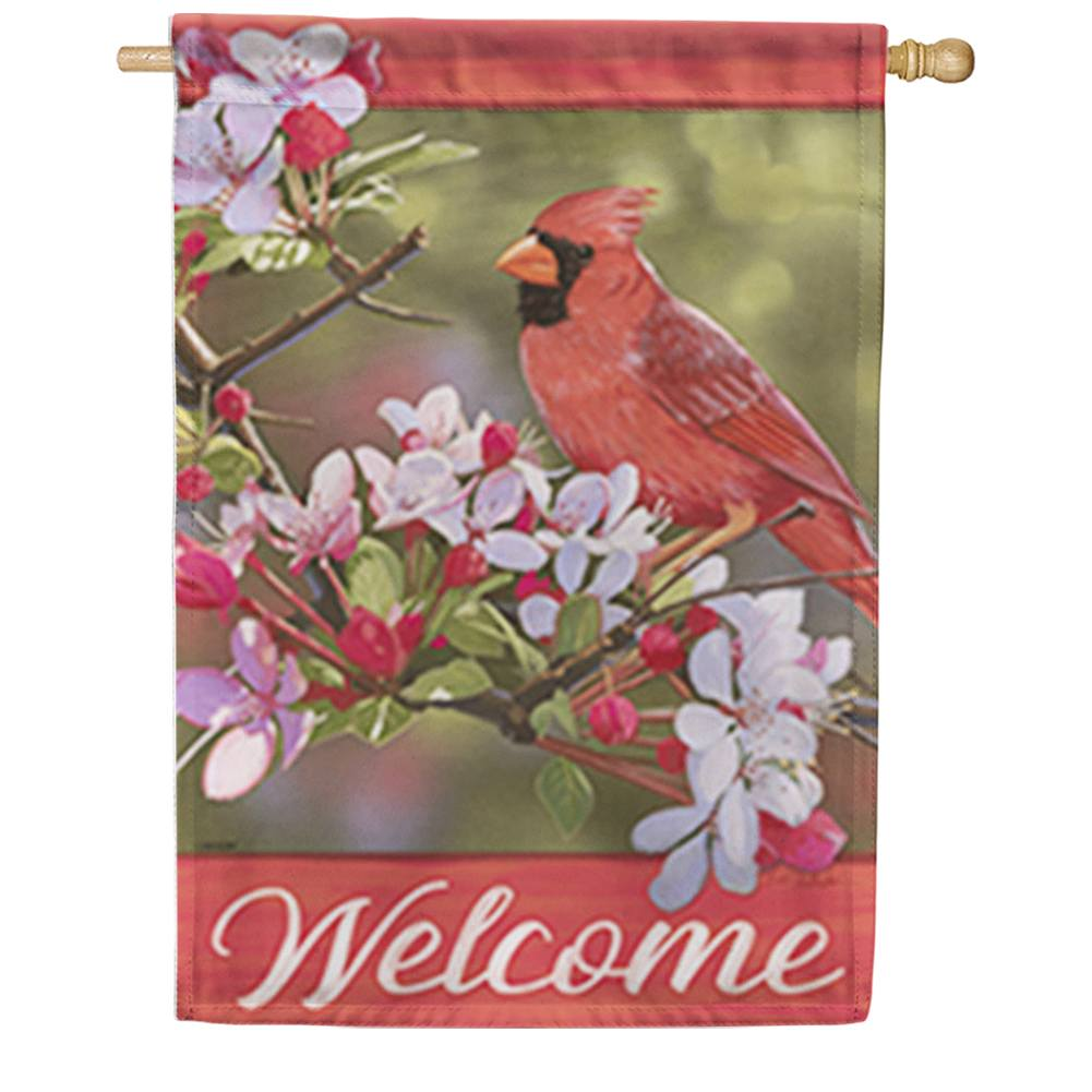Pretty Cardinal Double Sided House Flag