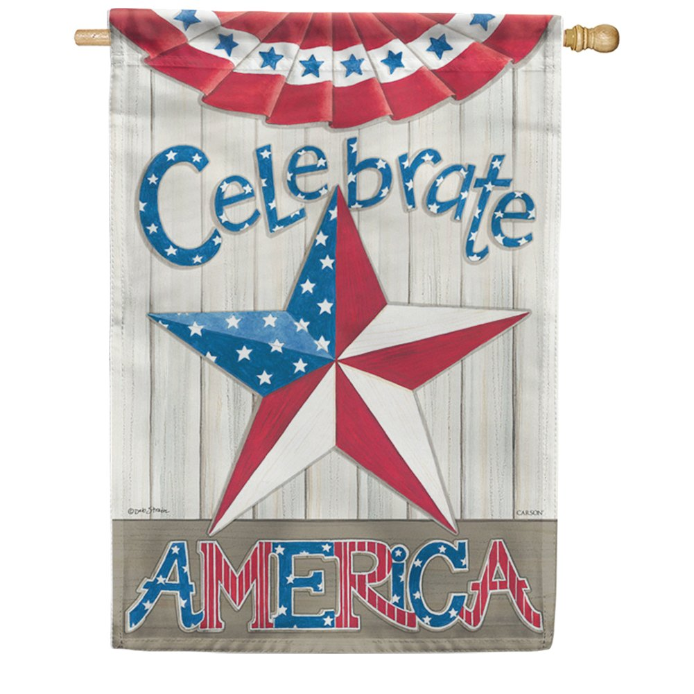 Celebrate America Star Double Sided House Flag