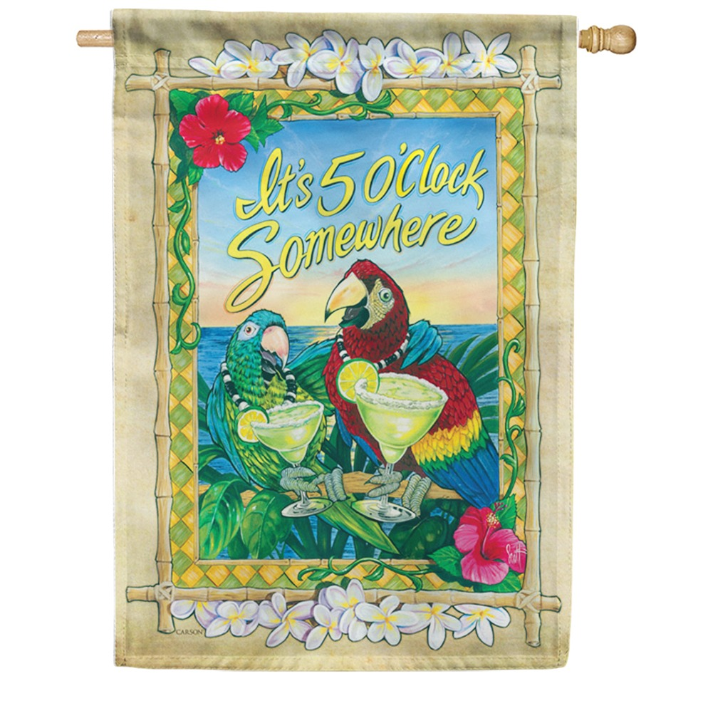 5 O'Clock Parrots Double Sided House Flag