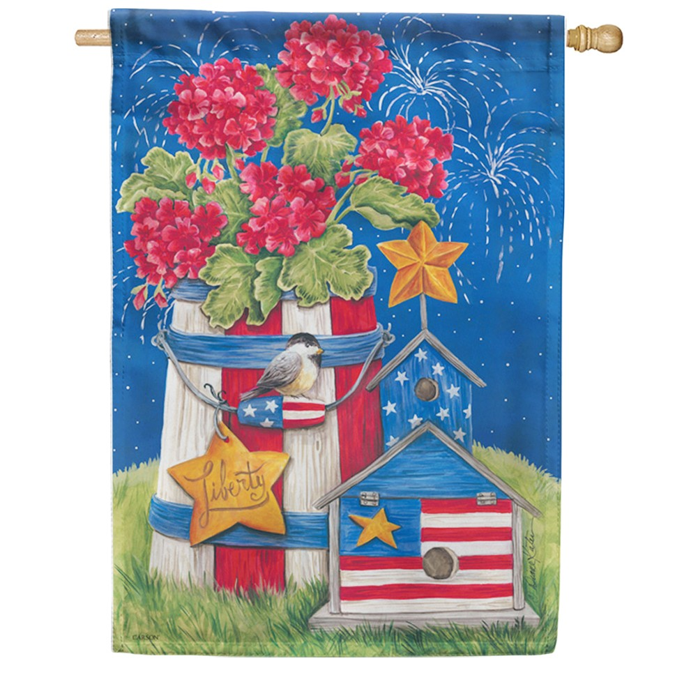 Patriotic Garden Fireworks Double Sided House Flag