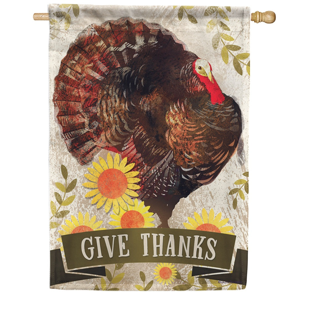 Proud Turkey Give Thanks Double Sided House Flag