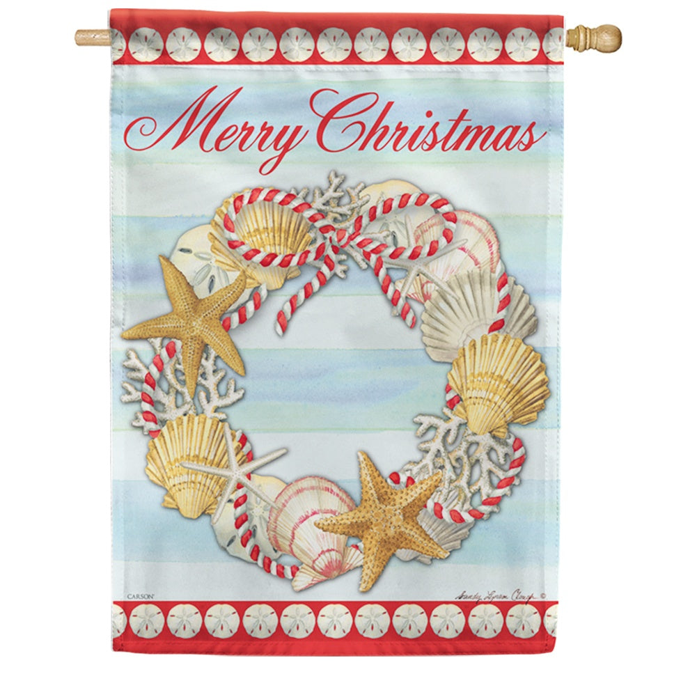 Christmas At The Shore Double Sided House Flag