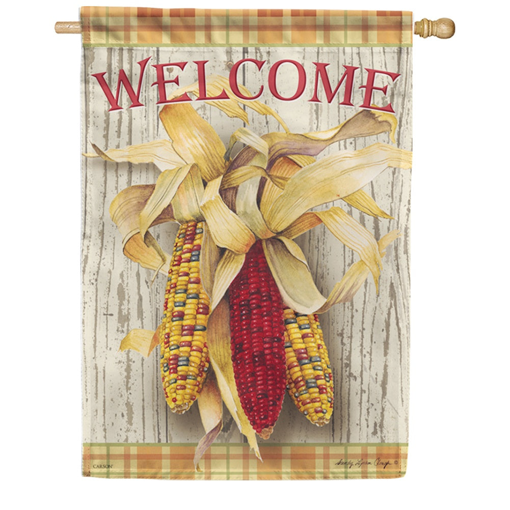 Harvest Corn Welcome Double Sided House Flag