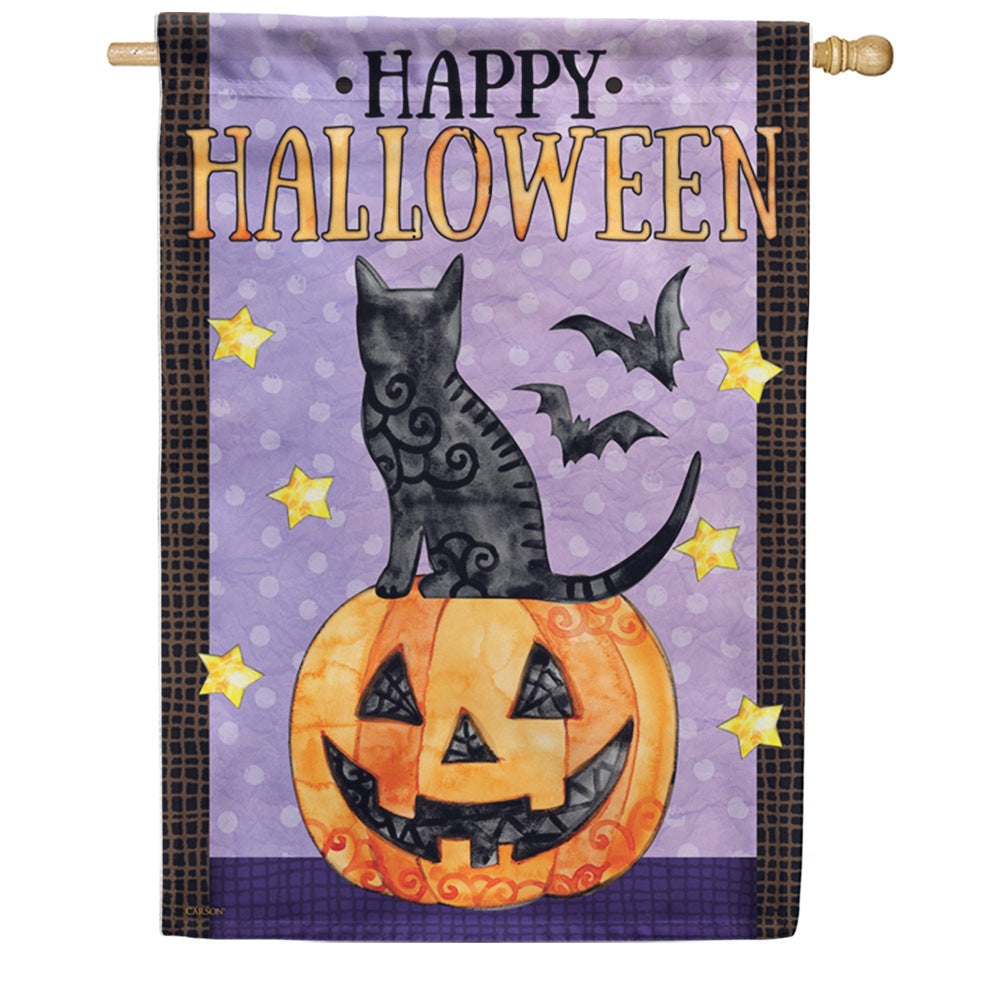 Spooky Cats & Bats Double Sided House Flag