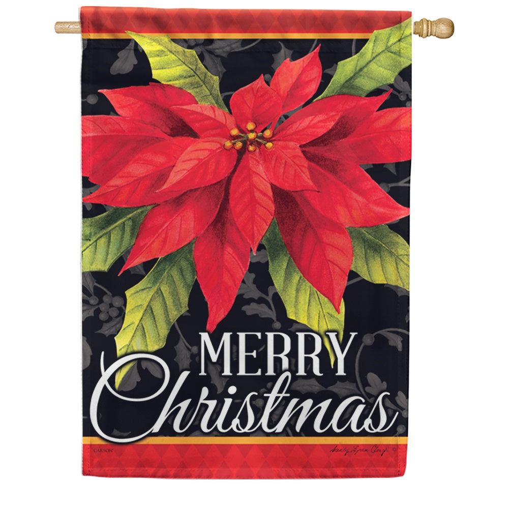 Poinsettia Christmas Double Sided House Flag
