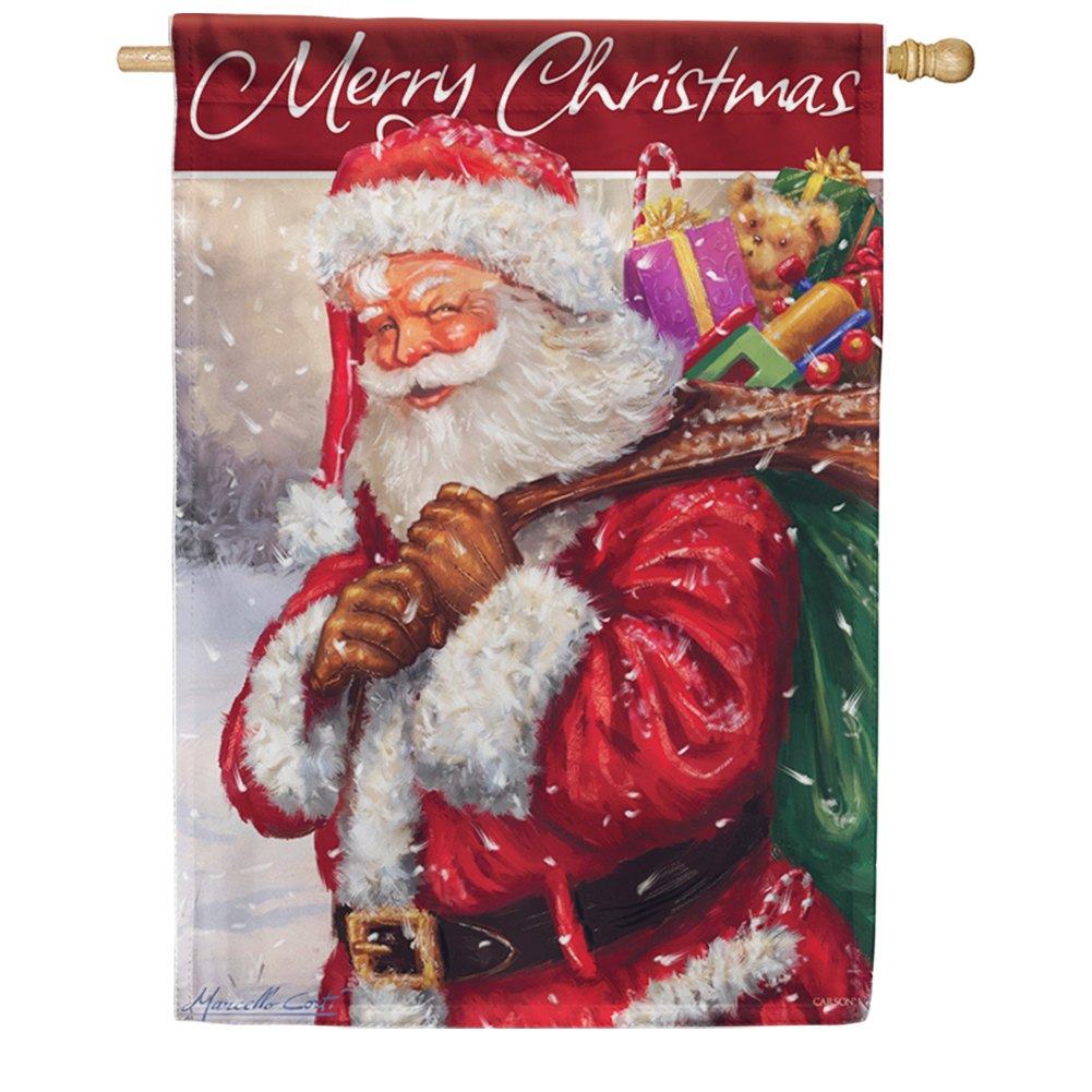 Jolly Santa Merry Christmas Double Sided House Flag