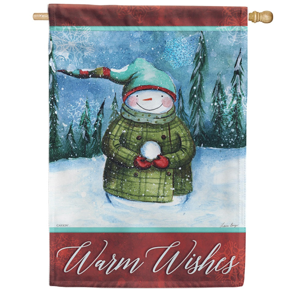 Warm Snowman Wishes Double Sided House Flag