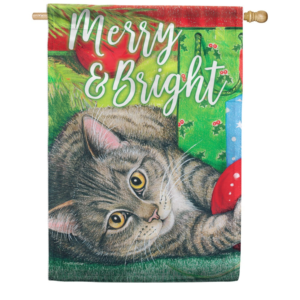 Santa's Helper Kitty Double Sided House Flag
