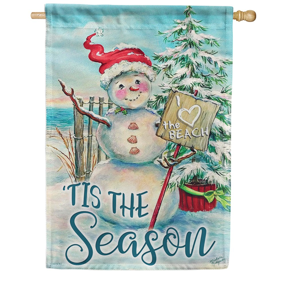 Christmas At The Beach Holiday Double Sided House Flag