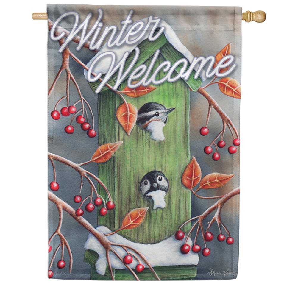 Chickadee Welcome Birdhouse Double Sided House Flag