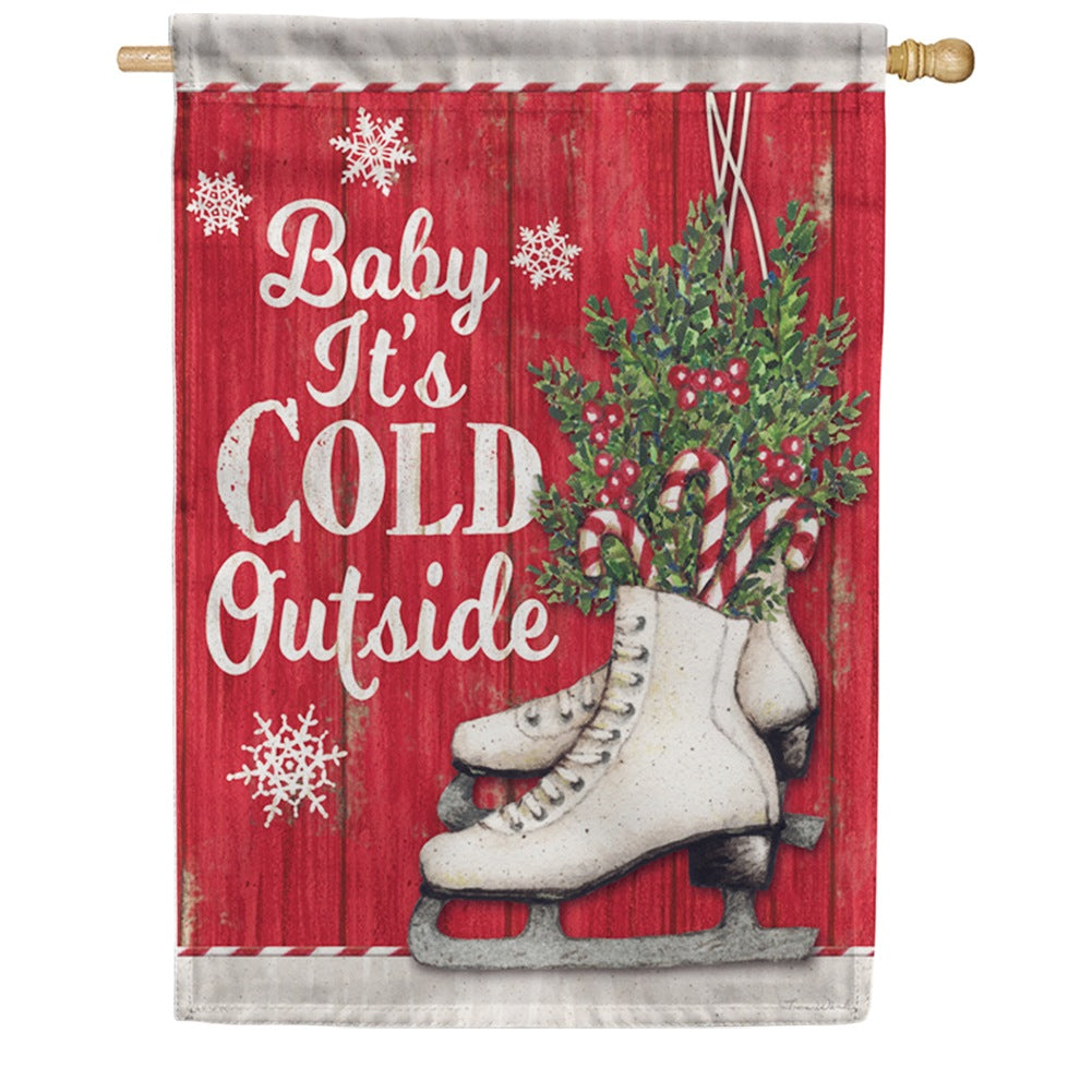 Candy Cane Skates Double Sided House Flag