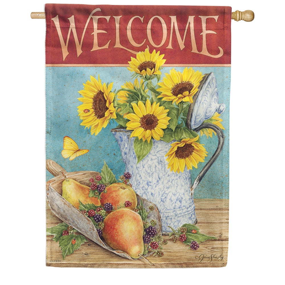 Sunflowers & Pears Double Sided House Flag