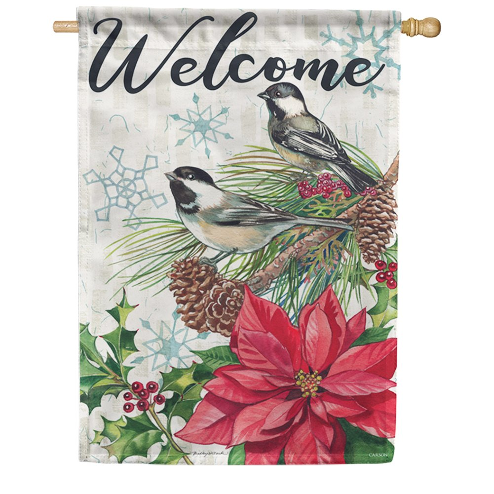 Pine & Poinsettias Double Sided House Flag