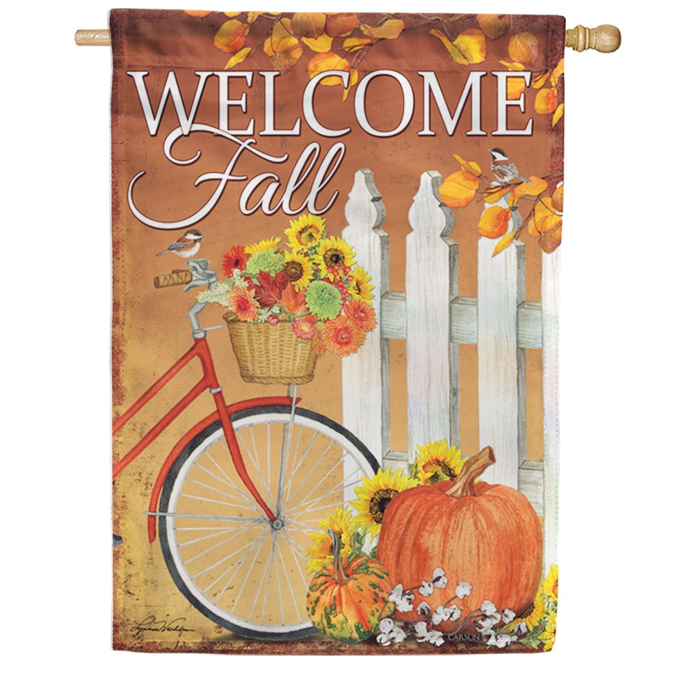 Fall Bicycle Double Sided House Flag