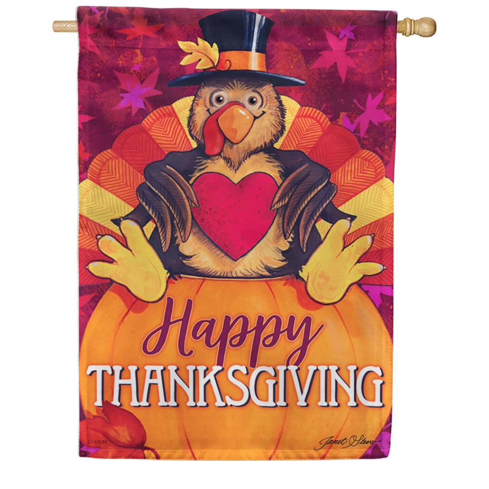 Happy Turkey Double Sided House Flag