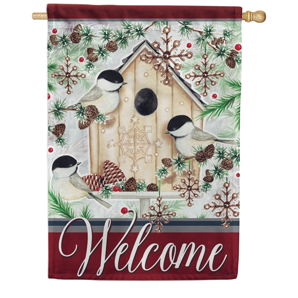 Chilly Chickadees Double Sided House Flag