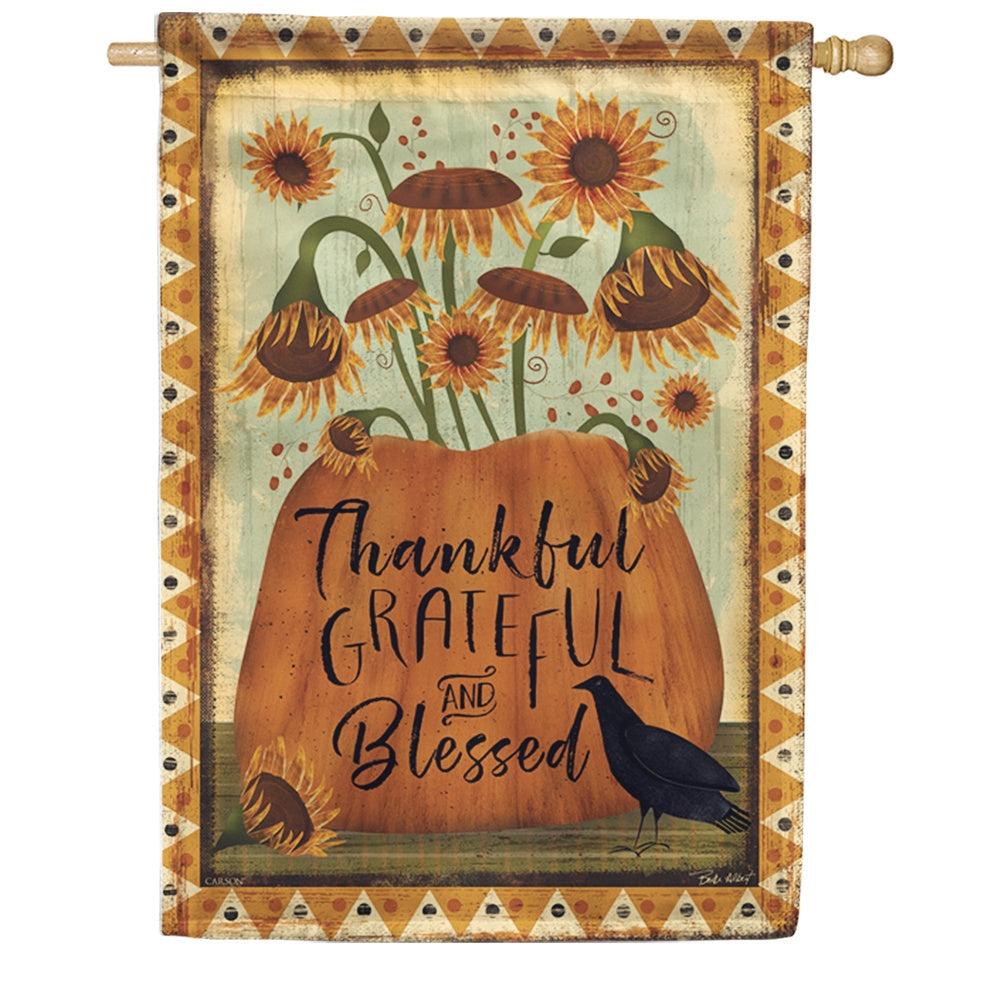 Thankful Grateful Blessed Double Sided House Flag